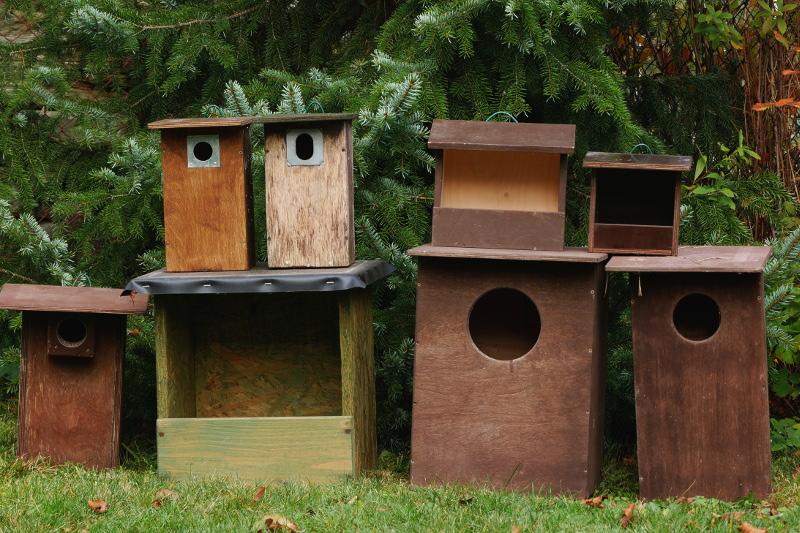 obrázek různých ptačích budek pro pěvce, dravce i sovy